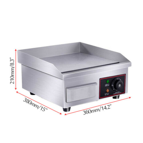 """1500W 14/"""" Electric Countertop Griddle Flat Top Commercial Restaurant Grill BBQ"""