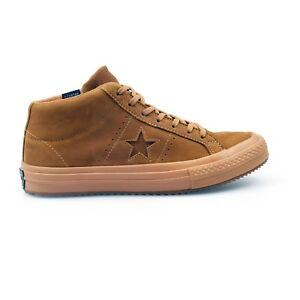 Converse One Star Mid Pelle Nabuk Marrone CLIMA CONTATORE Sneaker uomo NUOVE 158834C