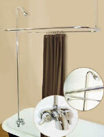 ADD ON SHOWER W/CURTAIN BAR FOR CLAWFOOT TUB ON LEGS WITH HEAVY DUTY FAUCET