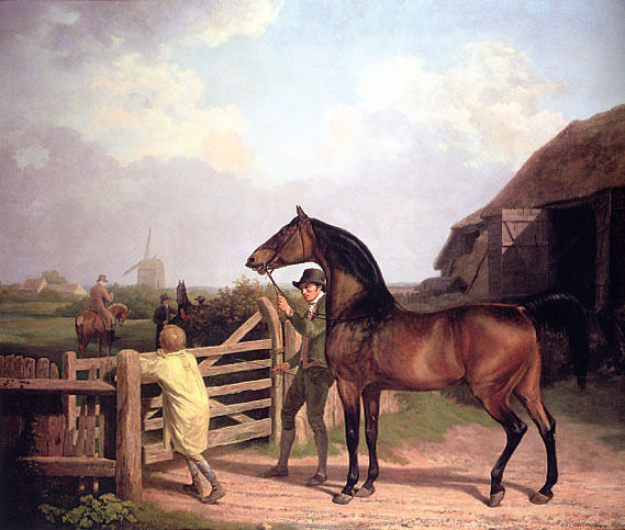 BAY ASCHAM A STALLION LED THROUGH GATE TO A MARE HORSE PAINTING BY AGASSE REPRO