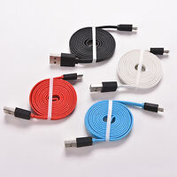 1/2/3M Noodle Flat Micro USB Sync Data Charger Cable Cord For Smart Phone JS