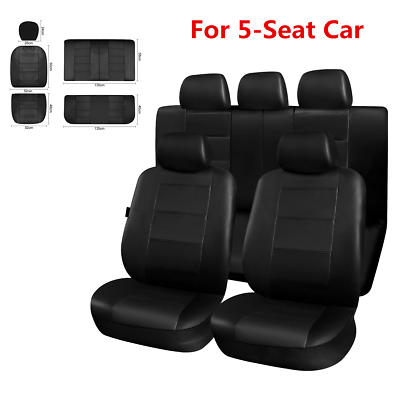 9x Red Front Rear Full Surround Seat Covers Head Rest Covers For 5-Sits Car SUV