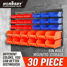 Wall Mounted Storage Bins Parts Rack 30 Bin Organizer Garage Plastic Shop Tool