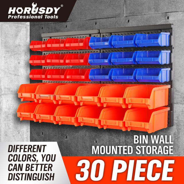 Wall Mounted Storage Bins Parts Rack 30 Bin Organizer