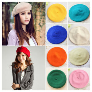 448e35ee424 Women Sweet Warm Wool Winter Beret French Artist Beanie Hat Ski Cap ...