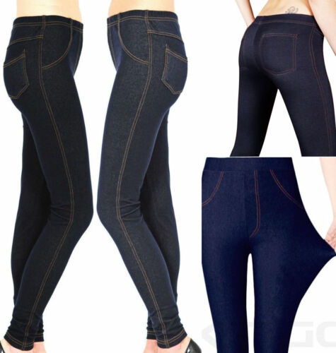 Neu Damen Dehnbar Denim-Look Skinny Jeggings Leggings Übergröße 8-28UK