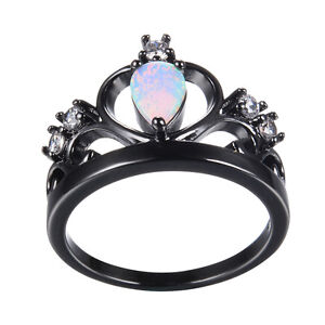Opal Wedding Band.Details About White Fire Opal Princess Crown Wedding Band Ring Black Gold For Women Size 5 12