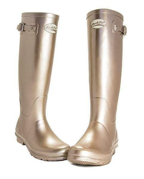 Stivali in Wellies gomma Rockfish Donna Impermeabile Wellies in Outdoor Stivali Champagne Oro 236ff6