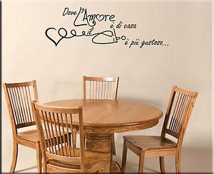 Adesivi murali frasi amore cucina decorazioni da parete - Decorazioni murali per cucina ...