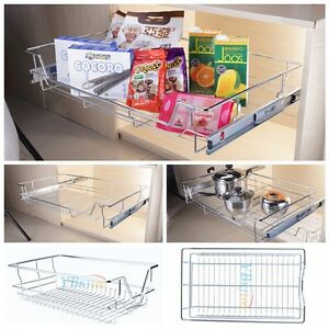 Pull out wire basket home kitchen larder cupboards shelf for 600 kitchen drawer unit