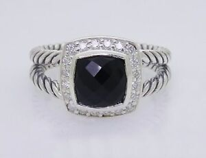 David-Yurman-Sterling-Silver-Black-Onyx-amp-Diamond-Petite-Albion-Ring-Size-7