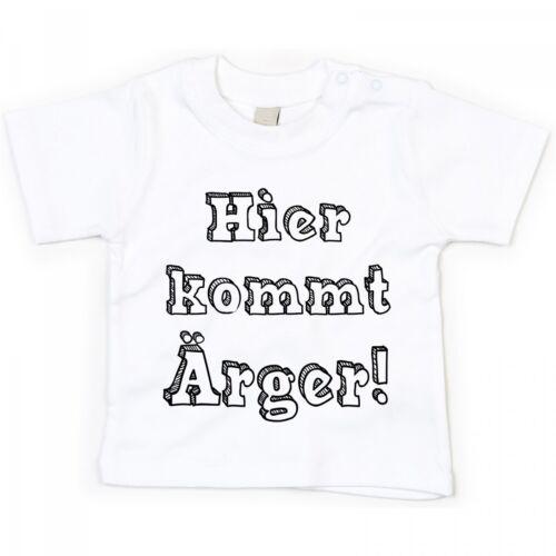 """/""""Hier kommt Ärger/"""" 100/% Baumwolle Babyshirt Modell Kinder"""