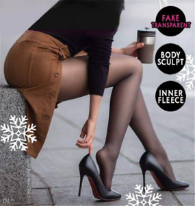 Fashion-Legs-Fake-Translucent-Warm-Fleece-Pantyhose-Tights-Stockings-AU