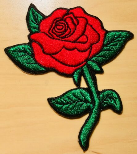 G Rote Rose Aufnäher / Blumen Aufbügler Bügelbild Blume Applikation flower patch