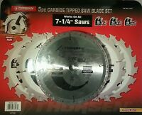 Thorsen 5pc Carbide Tipped Saw Blade Set 7-1/4 Saws 18, 24, 40 Teeth