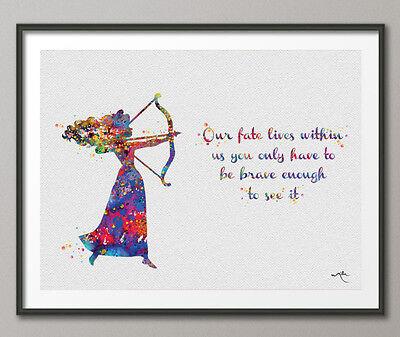 B /& W ART PRINT Merida Brave Quote Disney Wall Art Decor Gift Nursery Gift Home