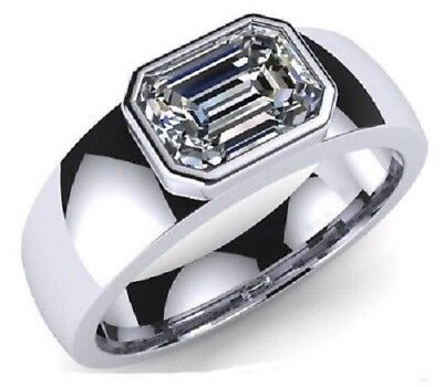 5.00CT Solitaie White Emerald Diamond Engagement Wedding Men/'s Ring 925 Silver