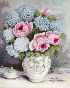 Cross stitch kit Blooms in a Tea Cup by Luca-S brand BA2321