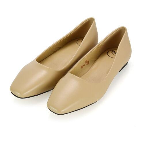 Nouveau Haut Plat Escarpins à Enfiler Bout Carré Femme Casual École Chaussures Taille 3-8