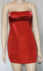 8c6539e83a Tube dress New short and sexy strapless ruched red wine mini lined ...