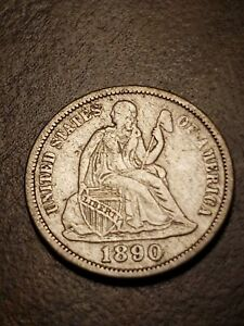 1890-Seated-Liberty-Silver-Dime-XF-Cleaned