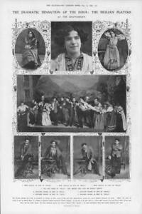 1908-Antique-Print-LONDON-Shaftesbury-Sicilian-Players-Malia-Aguglia-Iana-89