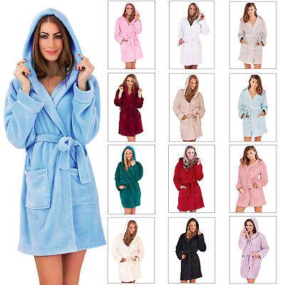 Schnelle Lieferung Womens Coral Fleece Robe Ladies New Designer Warm Hooded Dressing Gown Nightwear GroßE Auswahl;