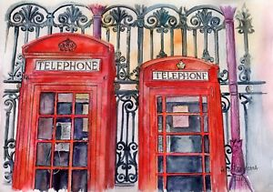 Red-Phone-Boxes-original-Gala-Kostroma-watercolor-British-landscape-painting-art