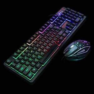 Keyboard and Mouse Set Rainbow Gaming LED Multi-Colored Changing Backlight Mouse