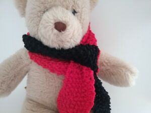 Teddy-Bear-Clothes-Handmade-Black-amp-Red-Hand-Knitted-Scarf