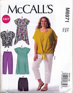 MCCALL-039-S-SEWING-PATTERN-6971-WOMENS-26W-32W-TOP-TUNIC-DRESS-PANTS-IN-PLUS-SIZES