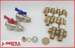 """Collettore con rubinetti a 2 - 3 - 4 vie 3/4x1/2"""" Giacomini R585C + Accessori"""