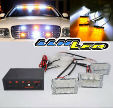 18 LED Amber/White Car/Truck Strobe Emergency Flashing Lamp On Deck Dash Grill N