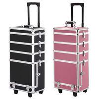 4in1 Interchangeable Aluminum Rolling Makeup Case Cosmetic Wheeled W/key Trolley