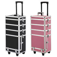 4in1 Interchangeable Aluminum Rolling Makeup Case Cosmetic Wheeled W/key Trolley