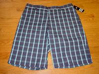 Mens 34 Adidas Blue White Plaid Golf Shorts Polyester Spandex Adult