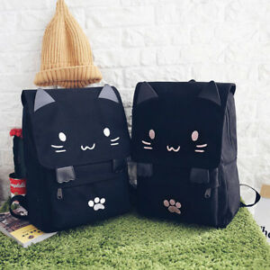 9c545ab2ea50 Image is loading fashion-Cute-Cat-Embroidery-Canvas-Student-bag-Cartoons-