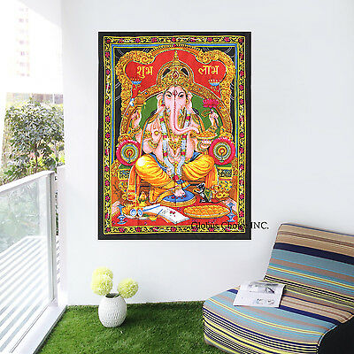 Lord Ganesha Indian Tapestry Throw Decor Bohemian Hippie God Wall Hanging 40X30""