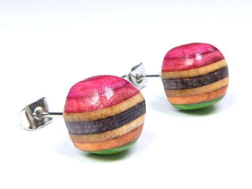 RECYCLED SKATEBOARD Cute Wooden Stud Earrings Gift  Amazon Wood Post