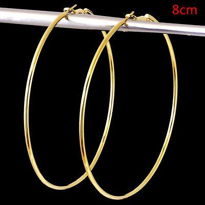 Women Big Circle Large Round Hoop Dangle Earrings Studs Gold Silver Jewelry