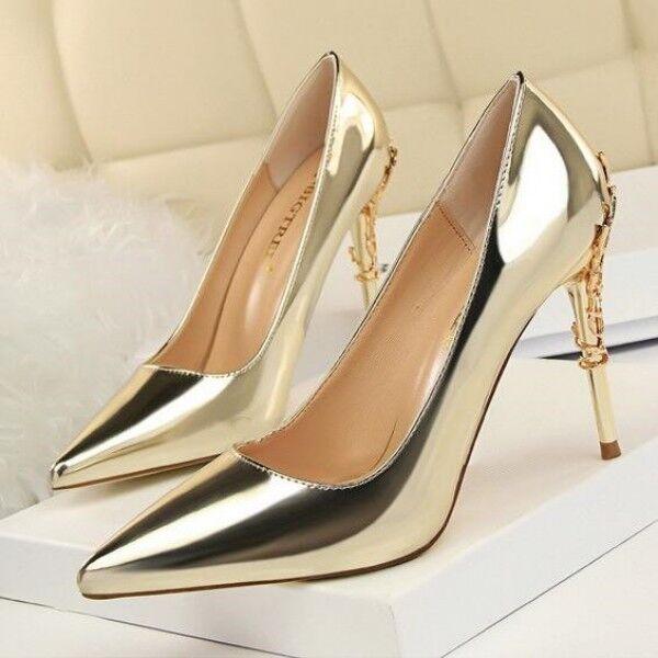 decolte Zapatos mujer oro gold elegante stiletto 10 8305 cm spillo simil pelle 8305 10 6134e6