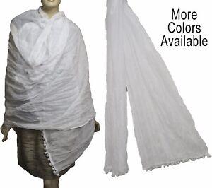 100% Coton Wrap écharpe Wrap Dupatta Odni Sarong Pareo Blanc Rouge Noir Vert Bleu-afficher Le Titre D'origine
