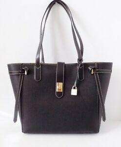 49f24374df0e Image is loading NWT-Michael-Kors-Cassie-Large-Leather-Tote-Black