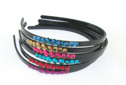 Girls Narrow 5mm Wide Black Plastic Aliceband with Colour Gems Vari Colours prd