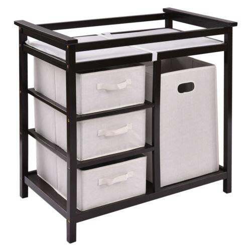 Espresso Infant Baby Changing Table w/3 Basket Hamper Diaper Storage Nursery New