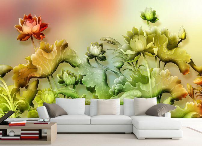 3D Lotus foglia 18 Parete Murale Carta da parati immagine sfondo muro stampa