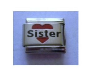 9mm-Italian-Charms-L76-Sister-in-Red-Love-Heart-Fits-Classic-Size-Bracelet