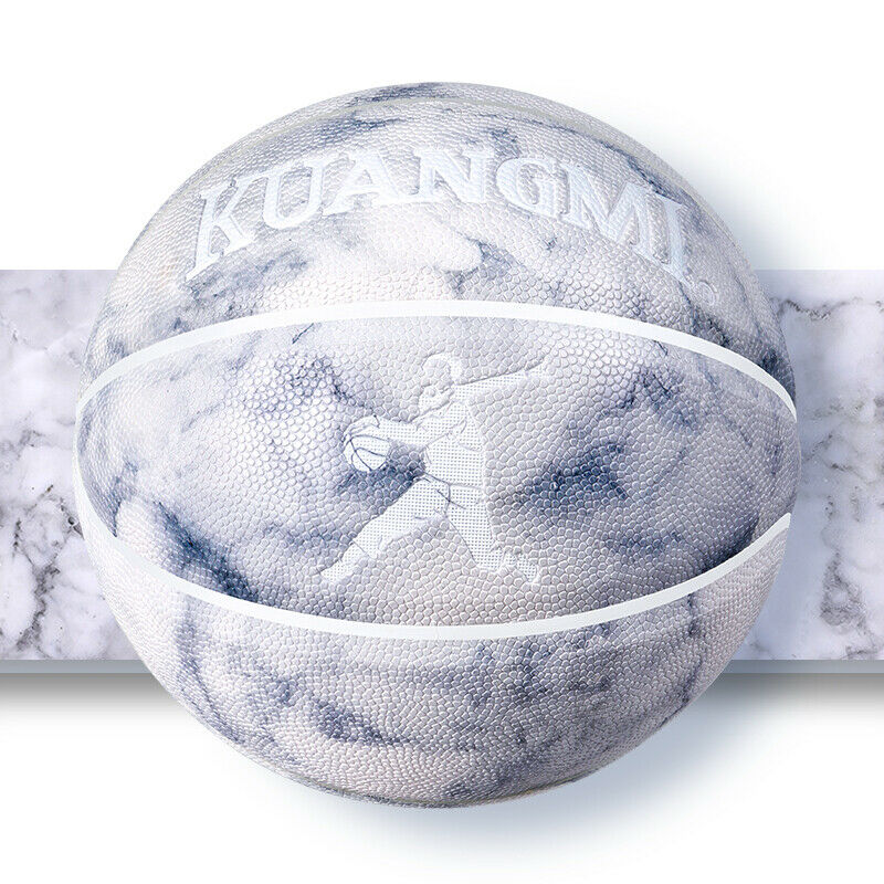 Kuangmi Cool white basketball ball marbled veins Size 7 29.5