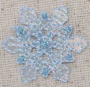 Medium White Snowflake Iridescent//Christmas Iron on Applique//Embroidered Patch