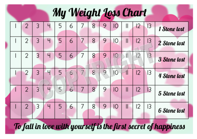 a4 weight loss chart 6 stone 1 sheet of stickers hearts design